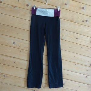 Pink Victorias Secret Fold Over Yoga Black Pants
